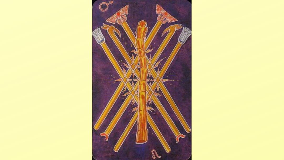 7 of Wands - Book of Thoth Minor arcana