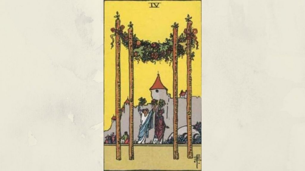 4 of Wands - Rider-Waite Minor Arcana