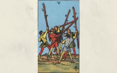 5 of Wands – Rider-Waite
