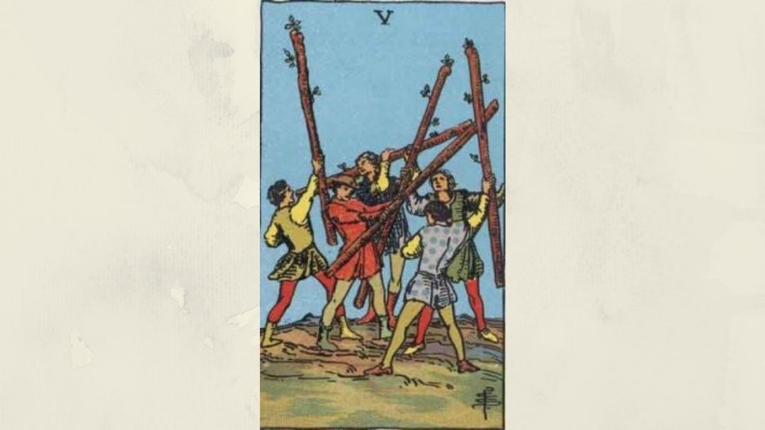 5 of Wands - Rider-Waite Minor Arcana