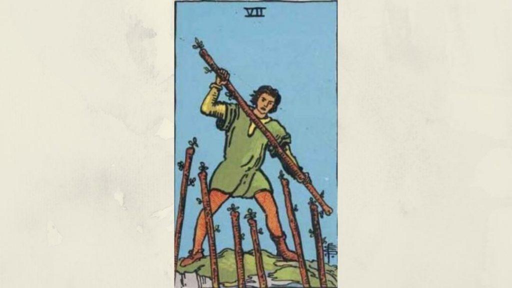 7 of Wands - Rider-Waite Minor Arcana