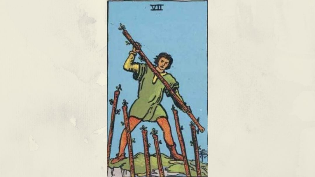 7 of Wands – Rider-Waite