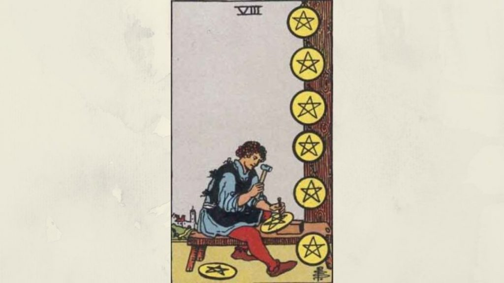 8 of Pentacles - Rider-Waite Minor Arcana