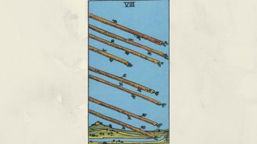 8 of Wands - Rider-Waite Minor Arcana
