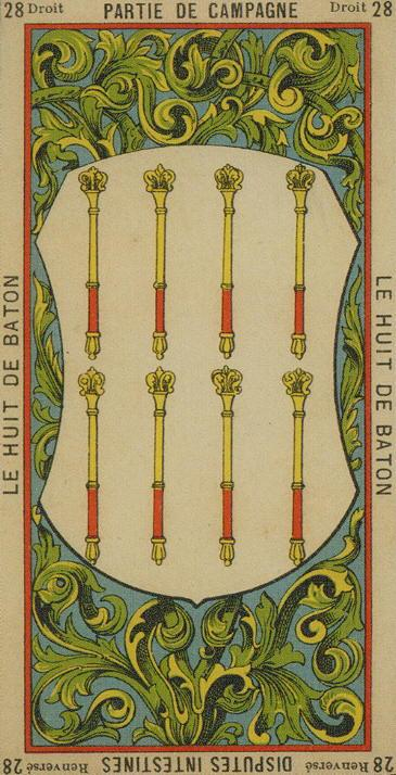 28 8 of Wands The Etteilla Tarot The Book of Thoth