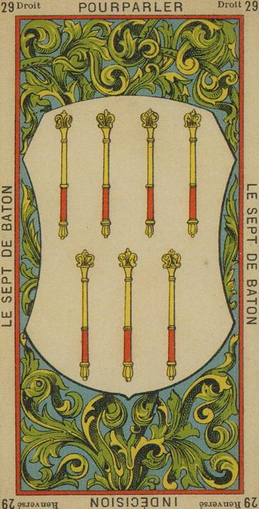 29 7 of Wands The Etteilla Tarot The Book of Thoth