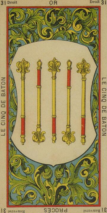 31 5 of Wands The Etteilla Tarot The Book of Thoth