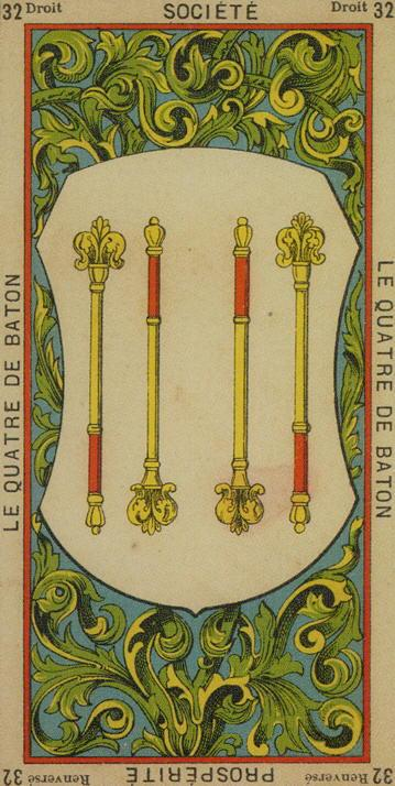 32 4 of Wands The Etteilla Tarot The Book of Thoth