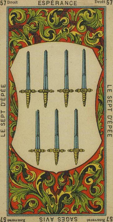 57 7 of Swords The Etteilla Tarot The Book of Thoth
