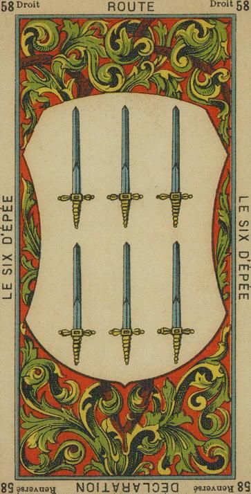 58 6 of Swords The Etteilla Tarot the Book of Thoth