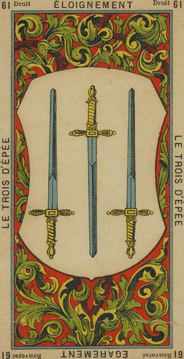 61 3 of Swords The Etteilla Tarot The Book of Thoth