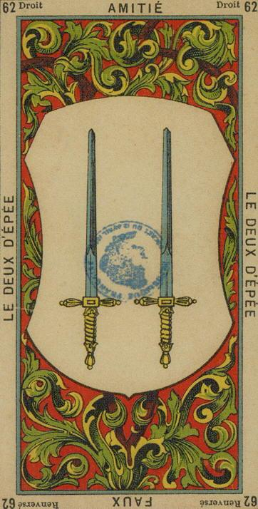 62 2 of Swords The Etteilla Tarot The Book of Thoth